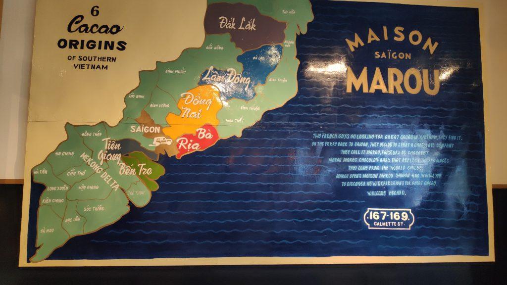Socola Maison Marou Chocolate và bản đồ các vùng miền cacao nguyên liệu