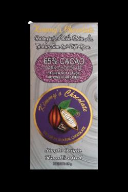 Socola - Socola đen nhân hạt điều Kimmy's Chocolate Việt Nam 65% cacao thanh 65g KMB12