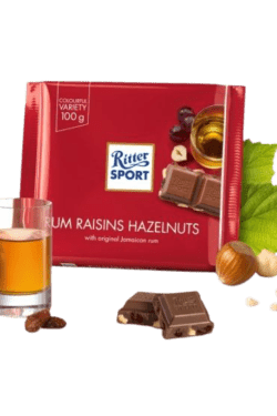 ZingSweets - Kẹo Socola với rum, nho khô và hạt phỉ Ritter Sport thanh 100g RSB04