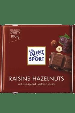 ZingSweets - Socola nhân nho và quả phỉ Ritter Sport thanh 100g RSB14